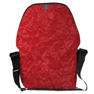 Shiny red wrinkled texture messenger bag