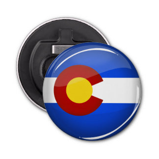 Shiny Round Colorado Flag Bottle Opener
