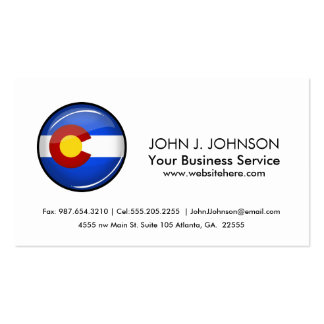 Shiny Round Colorado Flag Pack Of Standard Business Cards