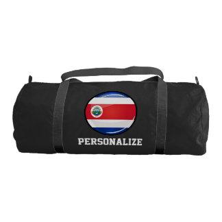 Shiny Round Costa Rican Flag Gym Duffel Bag
