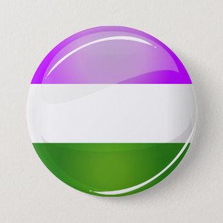 Shiny Round Genderqueer Flag 7.5 Cm Round Badge