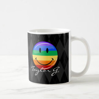 Shiny Round Happy Gay Pride Flag Basic White Mug