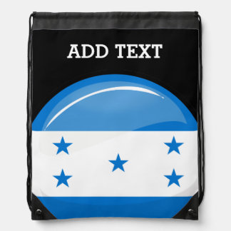 Shiny Round Honduran Flag Drawstring Backpacks