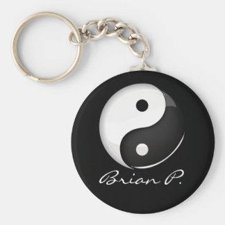 Shiny Round Yin Yang Symbol Custom Key Ring