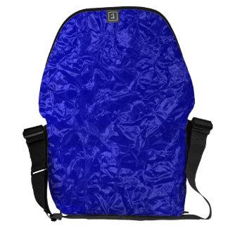 Shiny royal blue wrinkled texture messenger bag
