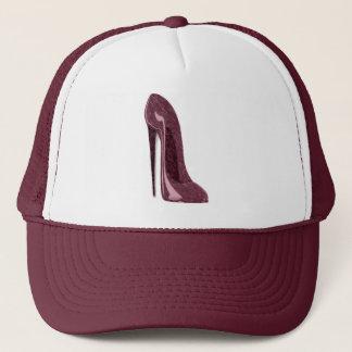 Shiny Ruby Red Stiletto Shoe Trucker Hat