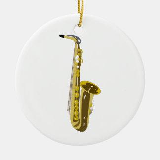 Shiny Saxophone Round Ceramic Decoration