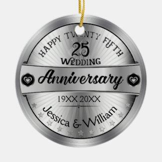 Shiny Silver 25th Wedding Anniversary Round Ceramic Decoration