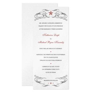 Shiny Silver Lone Star Wedding Invitations