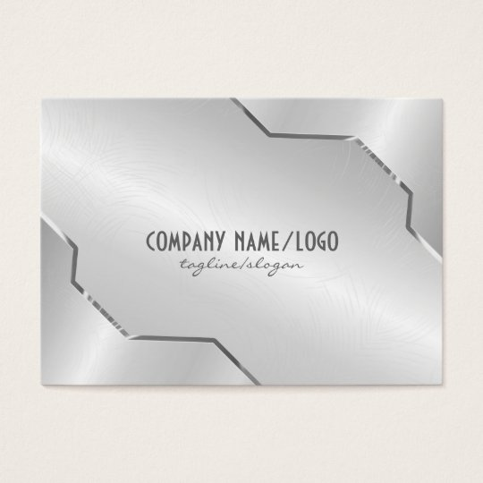 Shiny Silver Metallic Design- Stainless Steel Look Business Card