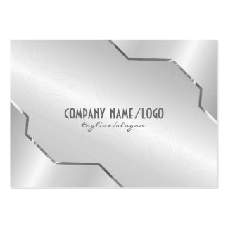 Shiny Silver Metallic Design- Stainless Steel Look Pack Of Chubby Business Cards