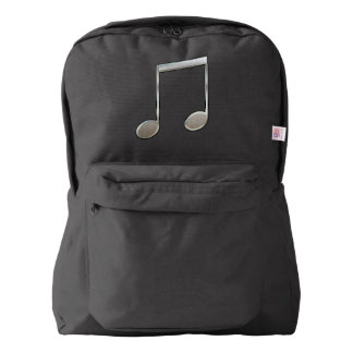 Shiny Silver Music Notation Beamed Whole Notes Backpack