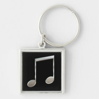 Shiny Silver Music Notation Beamed Whole Notes Key Ring