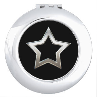 Shiny Silver Star Shape Outline Digital Design Compact Mirror