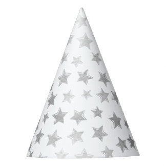 Shiny Silver Stars 2 Party Hat