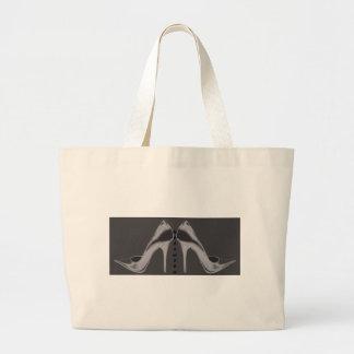 Shiny Silver Stiletto Art Large Tote Bag