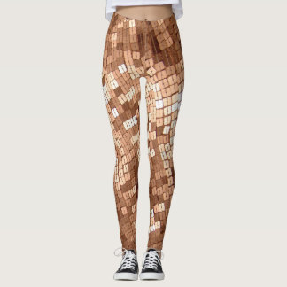 Shiny Sparkly Copper Colored Sequins Look Leggings
