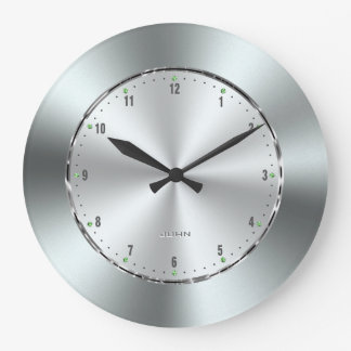 Shiny Stainless Steel Print Large Clock