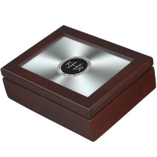 Shiny Stainless Steel Print Monogram Keepsake Box