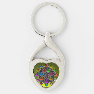 SHINY STAR WITH COLORFUL GEMSTONES Gold Yellow Silver-Colored Twisted Heart Key Ring