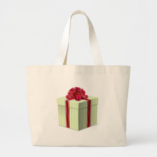 Shiny Striped Gift/Present with Red Bow Ribbon Canvas Bag