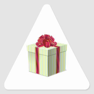 Shiny Striped Gift/Present with Red Bow Ribbon Triangle Sticker