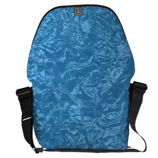 Shiny turquoise wrinkled texture messenger bag