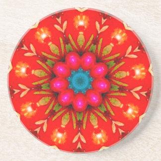 Shiny Vintage Christmas Jelly Fractal Coaster