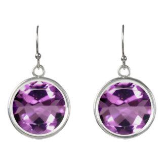 Shiny violet Amethyst gem February birthstone Earrings
