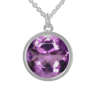Shiny violet Amethyst gem February birthstone Sterling Silver Necklace