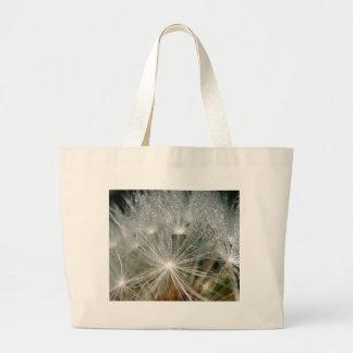 Shiny waterdrops on a white dandelion bag