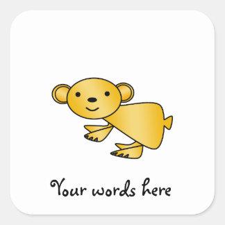 Shiny yellow koala square sticker