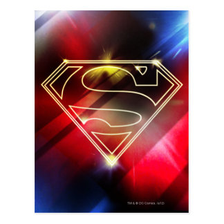 Shiny Yellow Outline Superman Logo Post Cards