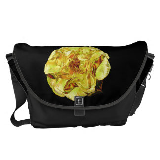 Shiny Yellow Rose Messenger Bags