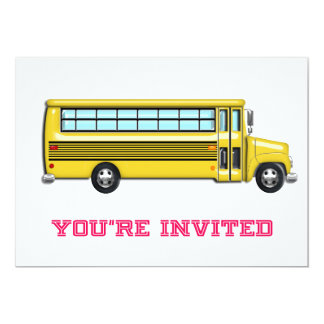 Shiny Yellow School Bus Invited 13 Cm X 18 Cm Invitation Card