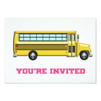 Shiny Yellow School Bus Invited 13 Cm X 18 Cm Invitation Card