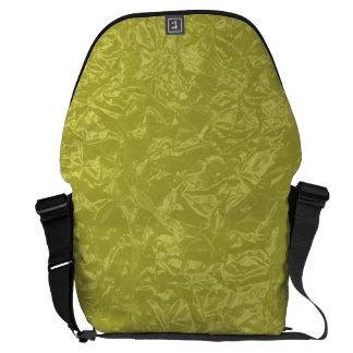 Shiny yellow wrinkled texture messenger bag