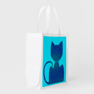 ShinyBlue Cat Silhouette Tote Bags