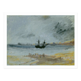 Ship Aground, Brighton, 1830 (black ink, w/c & bod Postcard