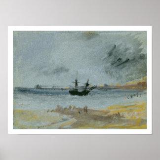 Ship Aground, Brighton, 1830 (black ink, w/c & bod Poster