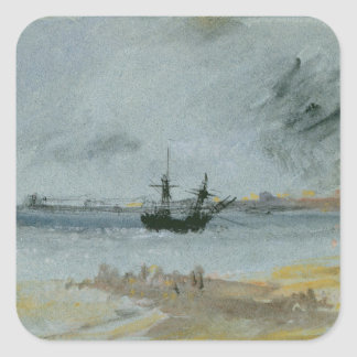 Ship Aground, Brighton, 1830 (black ink, w/c & bod Square Sticker
