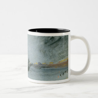 Ship Aground, Brighton, 1830 (black ink, w/c & bod Two-Tone Coffee Mug