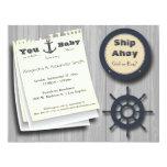 Ship Ahoy Girl Or Boy Nautical Baby Shower Invite 11cm X 14cm Invitation Card
