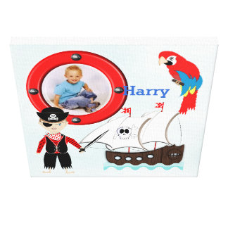 Ship Ahoy Pirate Themed Kids Photo Frame Gallery Wrapped Canvas