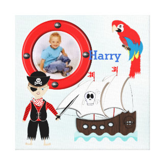 Ship Ahoy Pirate Themed Kids Photo Frame Canvas Print