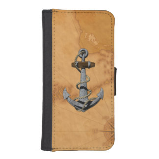 Ship Anchor And Nautical Map iPhone SE/5/5s Wallet Case