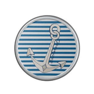 Ship Anchor Blue and White Horizontal Stripe Bluetooth Speaker