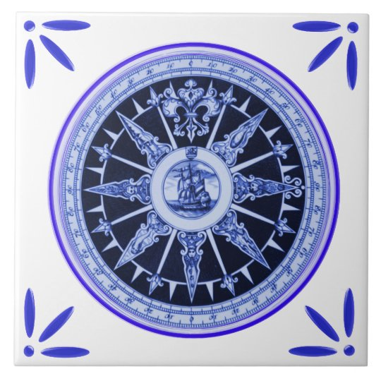 Ship and Compass Marine Vintage-Delft-Blue-Look Large Square Tile