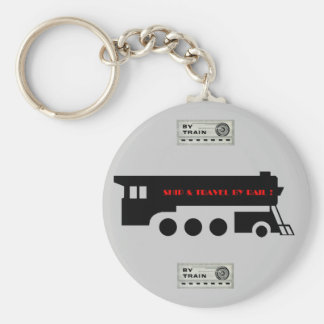 Ship and Travel By Railroad Train Basic Round Button Key Ring