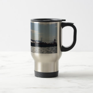 Ship approaching Manhattan Travel Mug